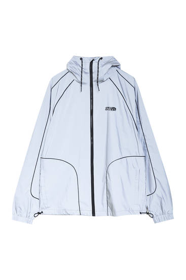 Reflective raincoat with hood