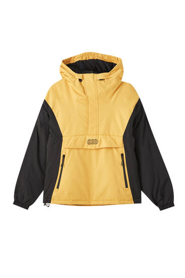 Hooded anorak jacket with zip