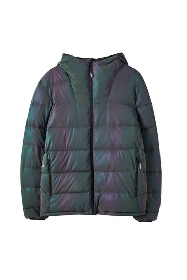 Iridescent lightweight puffer jacket