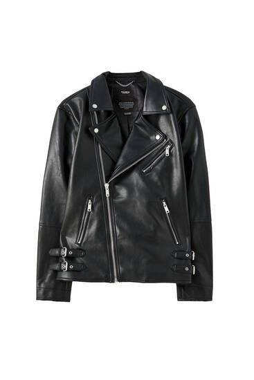 Biker jacket with chest pocket