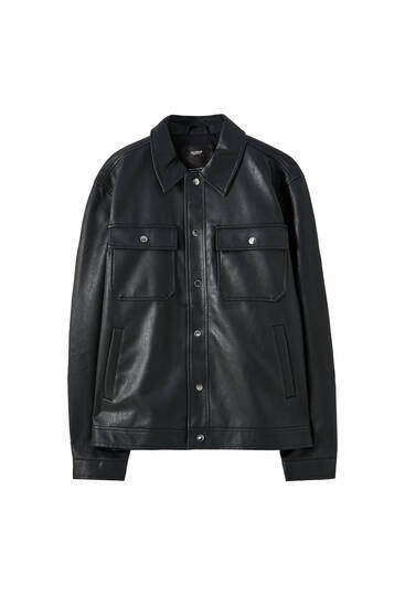 Faux leather Urban trucker jacket