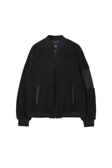 Black bomber teddy jacket