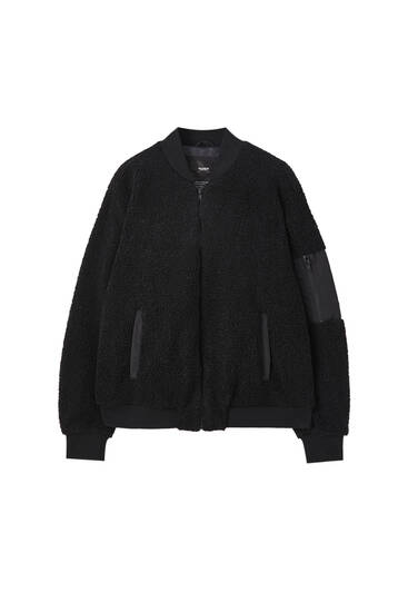 Black bomber teddy jacket
