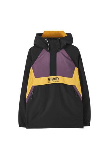Colour block pouch pocket jacket