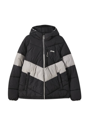 STWD contrast puffer jacket