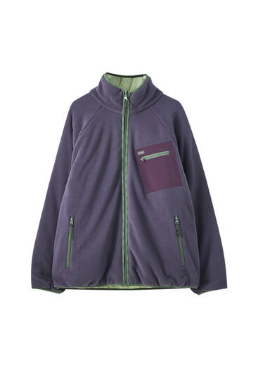 Reversible violet fleece jacket