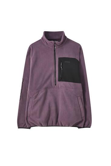 Fleece-Sweatshirt mit farblich abgesetzter Tasche