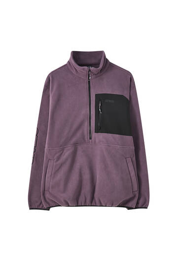 Fleece sweatshirt with contrast pocket