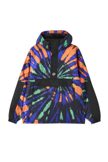 Куртка-анорак із принтом тай-дай