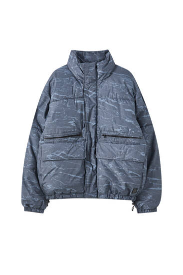 Printed puffer jacket with pockets