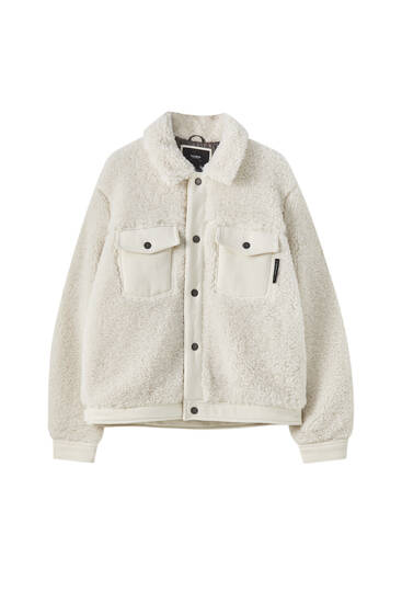 Contrast faux shearling trucker jacket