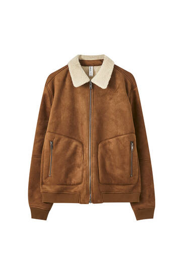 Faux suede jacket with faux shearling