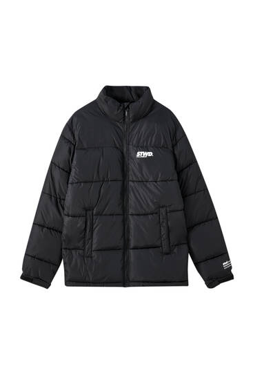 Puffer jacket with chest logo