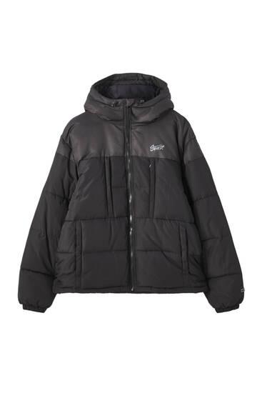 Комбинированная стеганая куртка с капюшоном