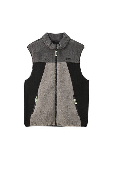 Faux shearling waistcoat with panels