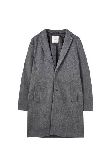 Classic grey coat in wool blend