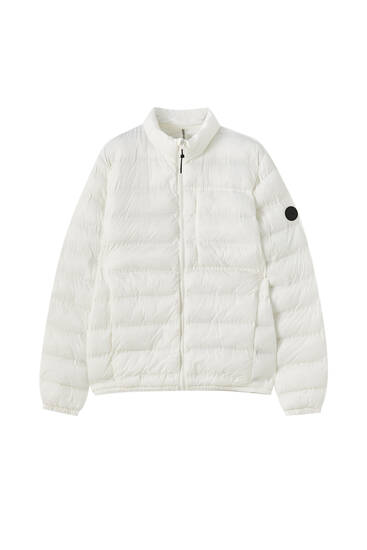 Basic lightweight fabric puffer jacket