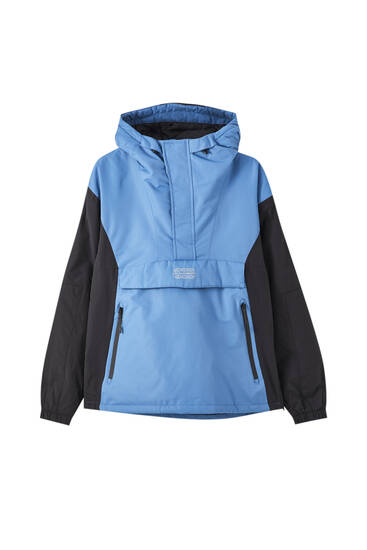 Contrast anorak jacket with logo