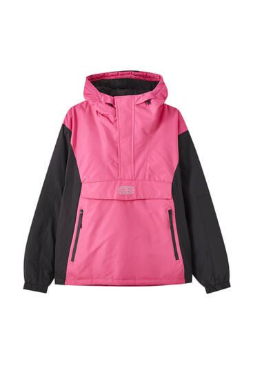 Contrast anorak jacket with logo