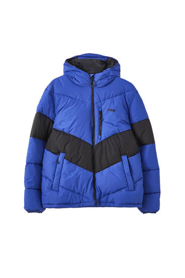 Contrast colour block puffer jacket