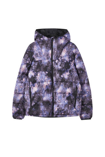 Constellation print puffer jacket