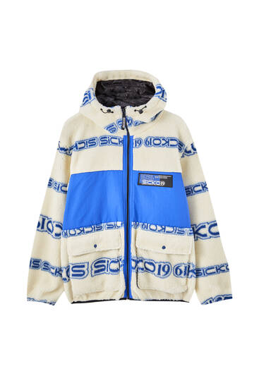 Faux shearling Sicko19 Sickonineteen jacket with print
