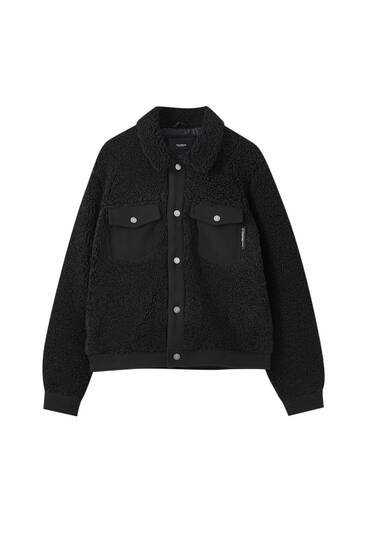 Black teddy trucker jacket