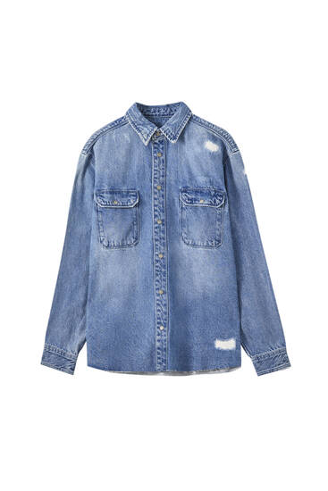 Denim overshirt with rips