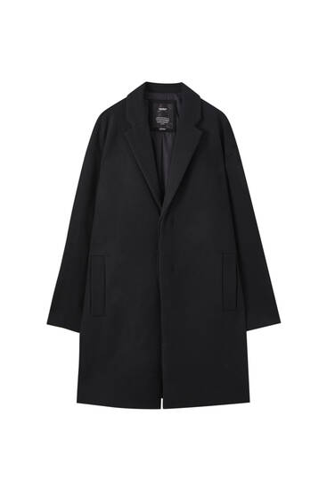 Oversize black wool blend coat