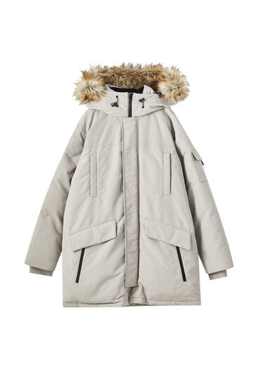 Premium fabric parka with hood