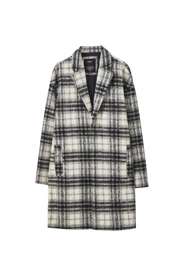 Checked woolly cloth coat