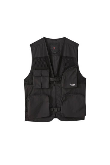 Black utility gilet with multiple pockets