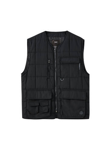 Black padded gilet with multiple pockets