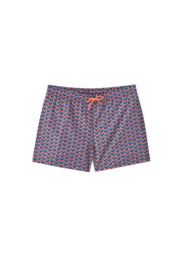 Pink swimming trunks with a geometric print