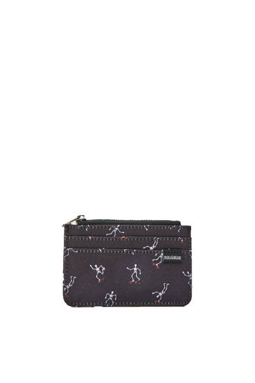 Black wallet with skeleton print