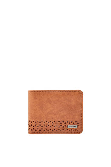 Brown faux leather textured wallet