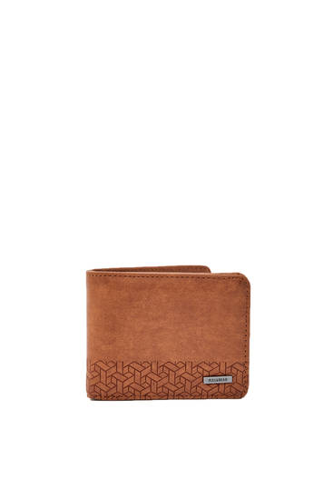 Faux leather wallet with geometric detail