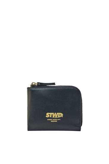 Black faux leather STWD wallet