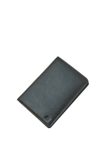 Black faux leather logo wallet