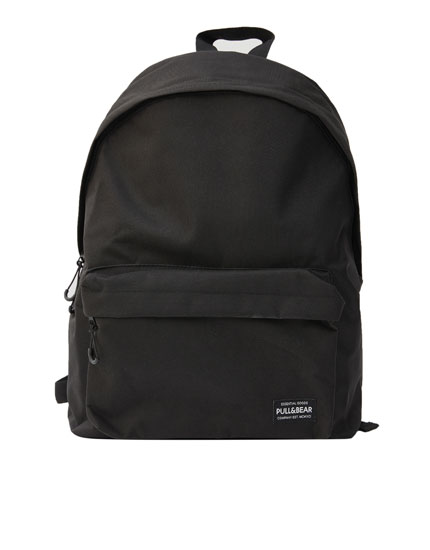 Black backpack with logo and pocket