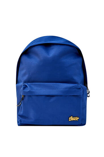 Blue backpack with logo and pocket
