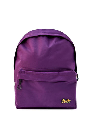 Violet backpack with logo and pocket