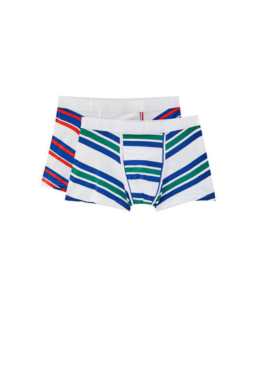 2-pack of boxers with multicoloured striped print