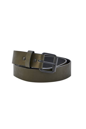 Faux leather khaki belt