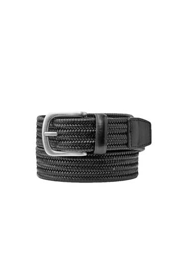 Black leather stretch belt
