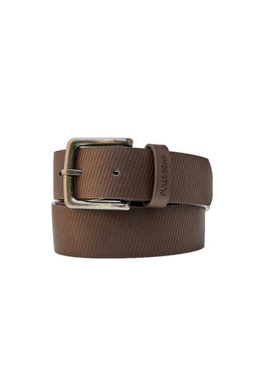 Textured brown faux leather belt