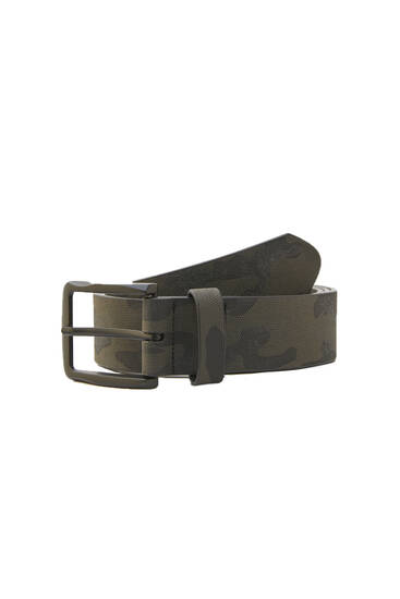 Faux leather camouflage belt