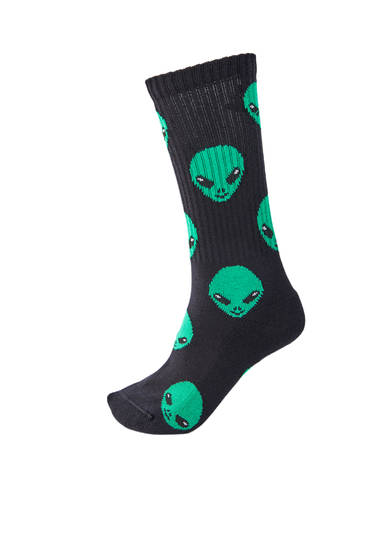 Black socks with alien print