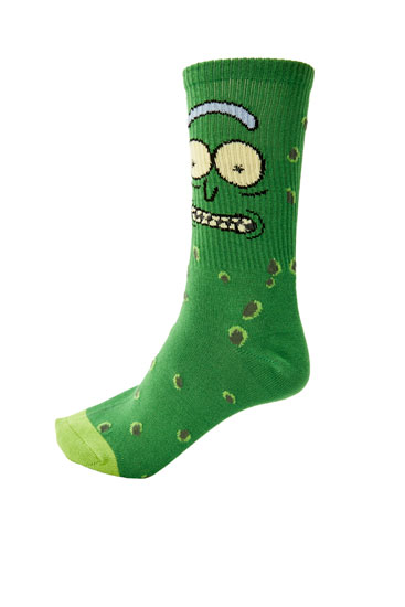 Green Rick and Morty socks