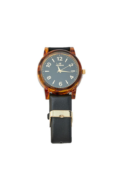 Watch with tortoiseshell face